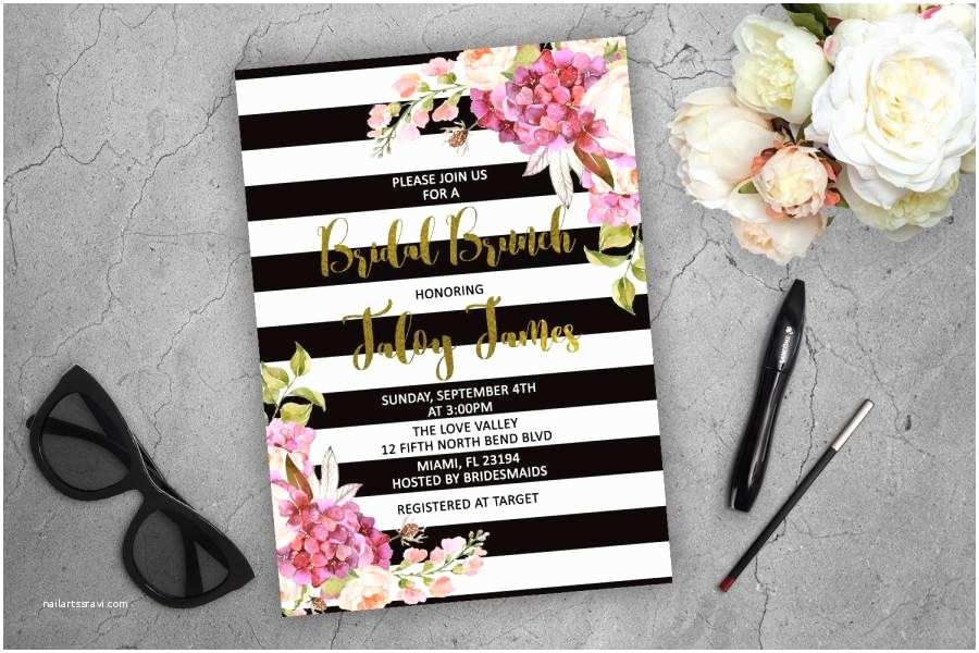 Kate Spade Wedding Invitations Bridal Brunch Invitation Kate Spade Inspired Floral