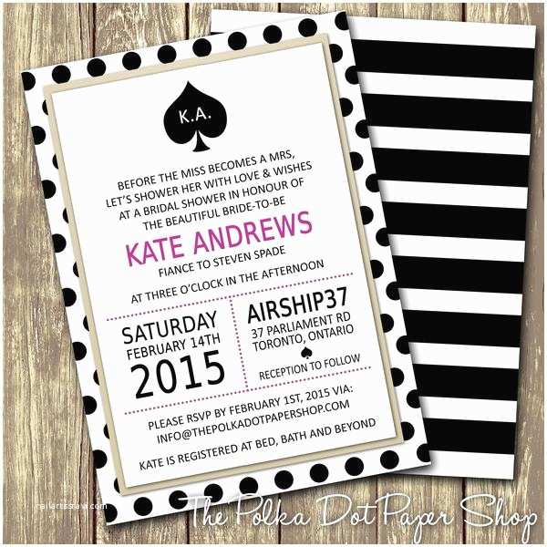 Kate Spade Wedding Invitations Inspired Bridal Shower Or Party Invitation 0271