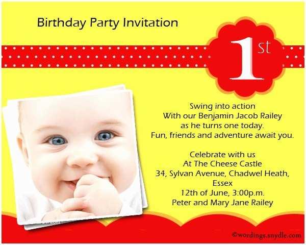 Kids Birthday Invitation Wording 1st Birthday Party Invitation Wording Wordings and Messages