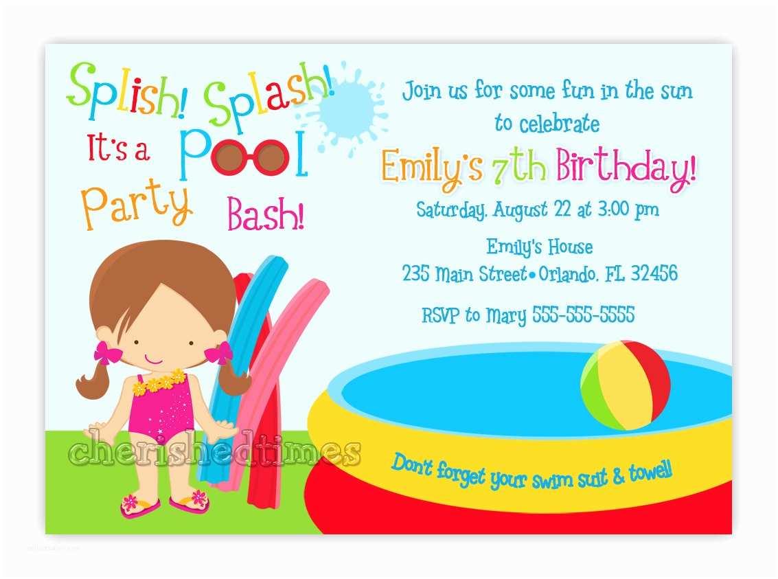 Kids Birthday Invitation Wording Funny Beach and Pool Invitation Card Design Ideas to