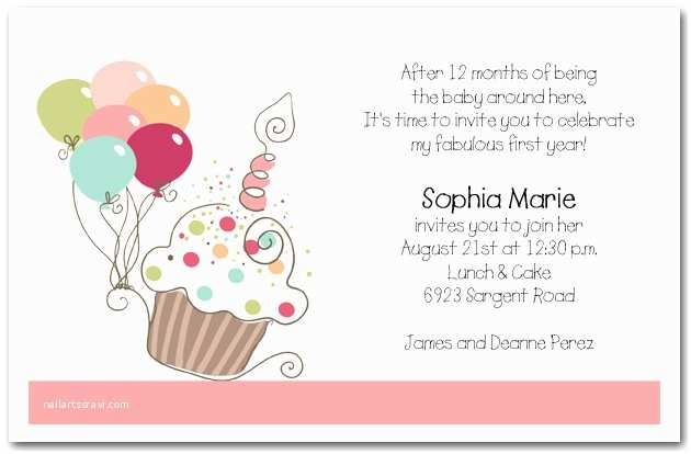 Kids Birthday Invitation Wording Girl S Cupcake & Balloons Birthday Invitation Cupcake