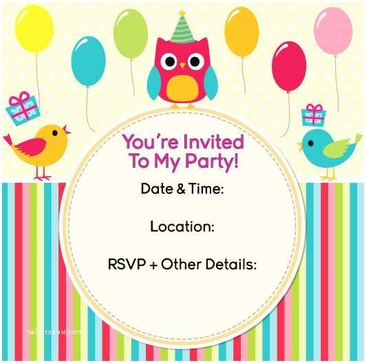 Kids Birthday Invitations Party Invitation Templates Kids Party Invitations