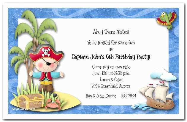 Kids Birthday Party Invitation Wording Boy Pirate island Party Invitations Pirate Birthday