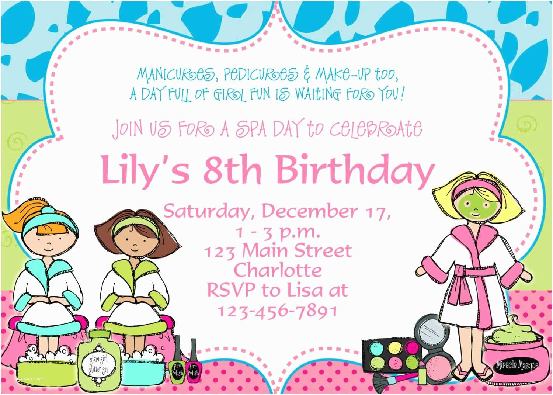 Kids Birthday Party Invitation Wording Printable Spa Birthday Party Invitations