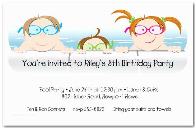 Kids Birthday Party Invitations Kids In the Pool Party Invitation