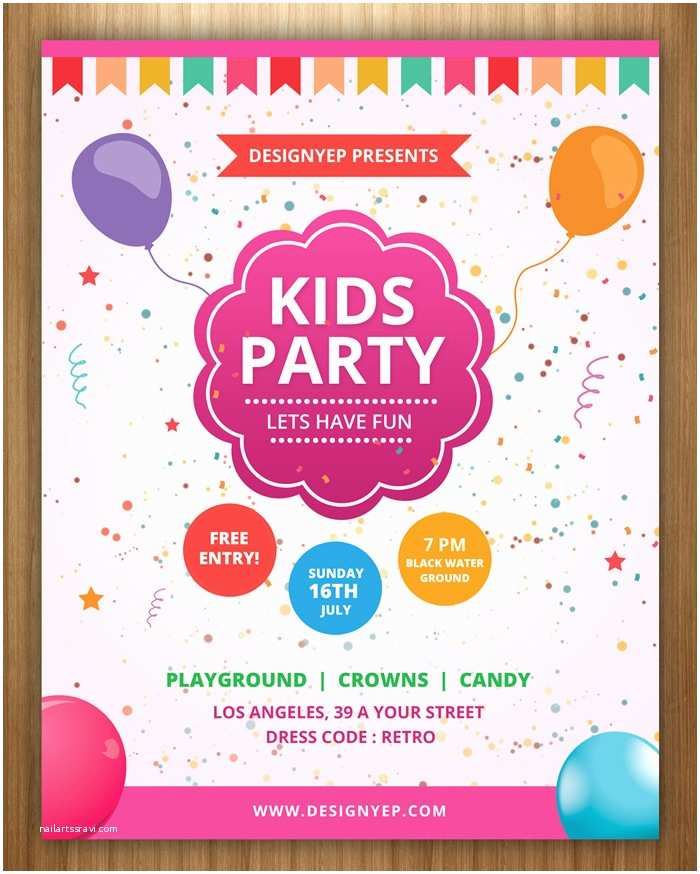 Kids Birthday Party Invitations Nice Kids Party Invite Template Illustration Example