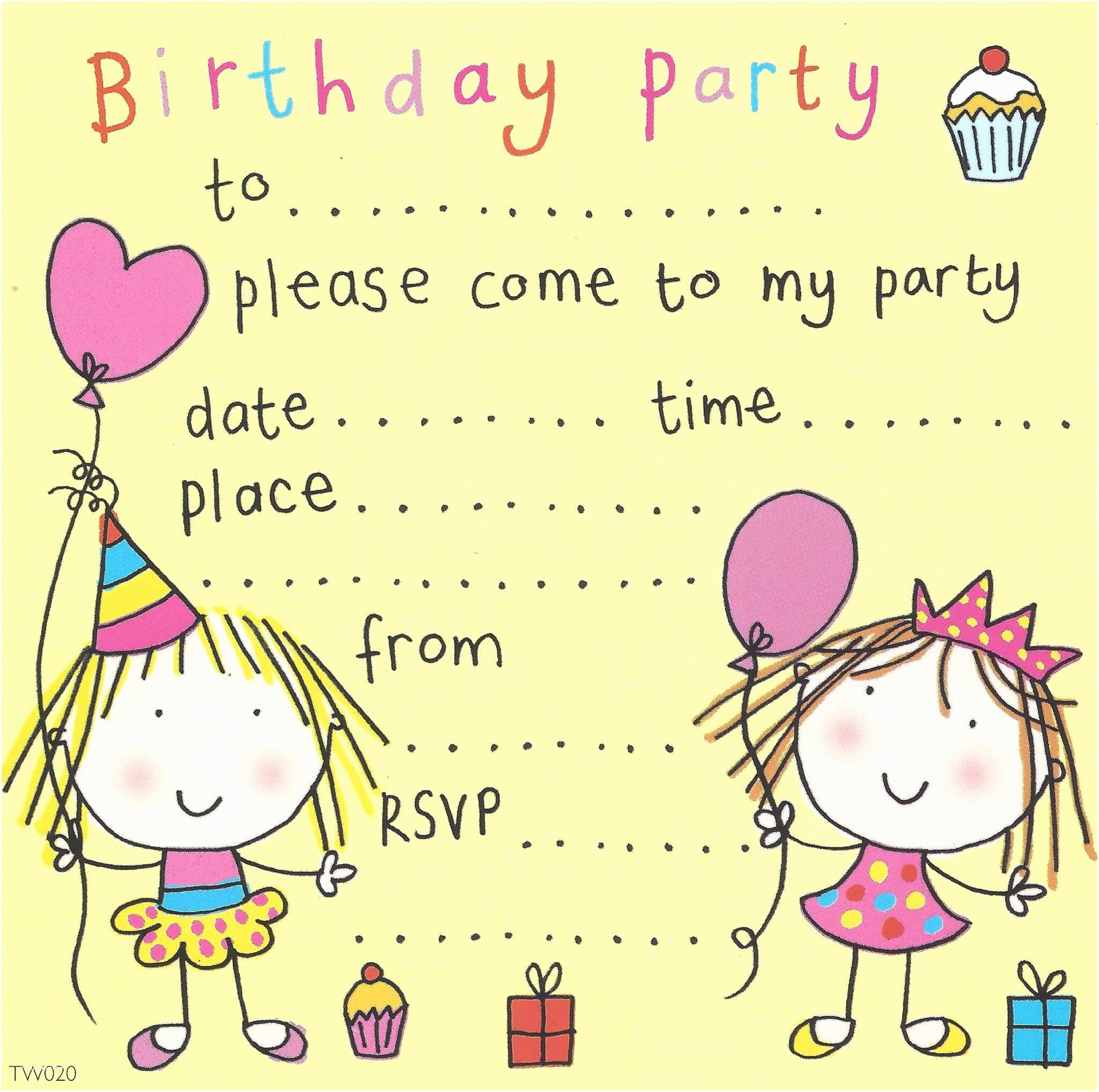 twin girls childrens party invitation 8 p