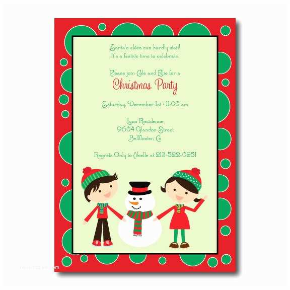 Kids Christmas Party Invitations Children S Christmas Holiday Party Invitation Santa and