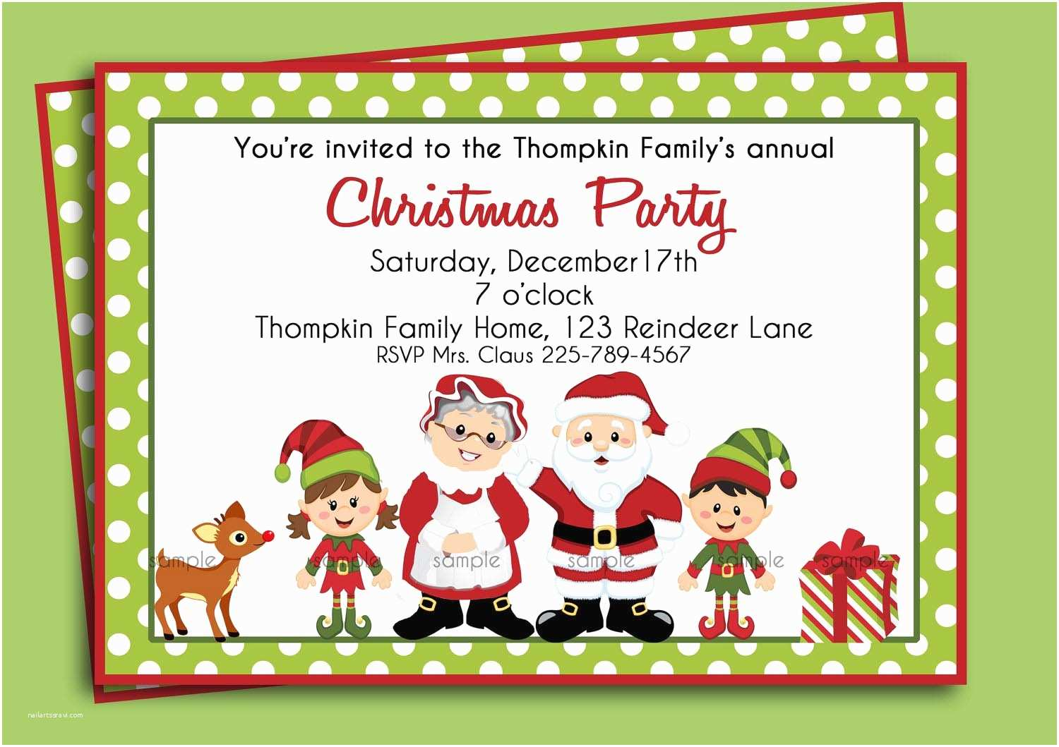 Kids Christmas Party Invitations Christmas Birthday Party Invitations