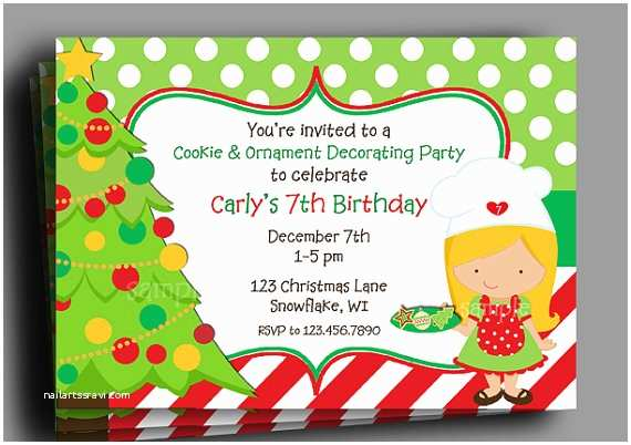 Kids Christmas Party Invitations Christmas Invitation Printable or Printed with Free