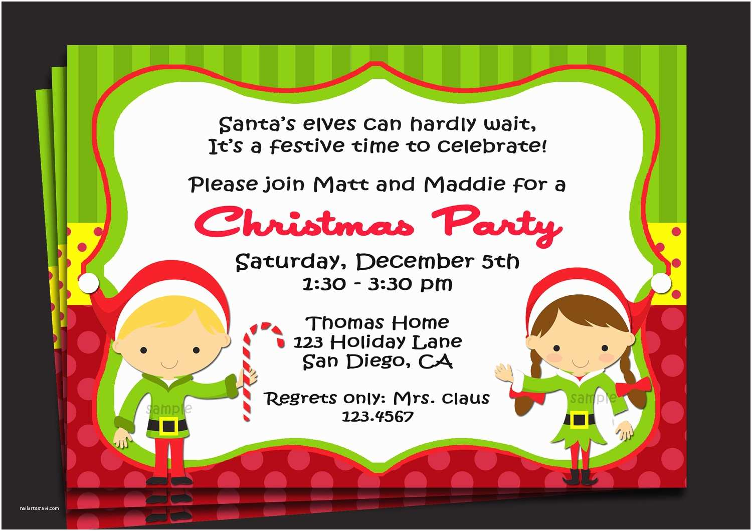 Kids Christmas Party Invitations Christmas Party Invitation Printable or Printed with Free
