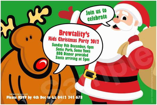 Kids Christmas Party Invitations Cu900 Kids Christmas Party Invitation with Santa
