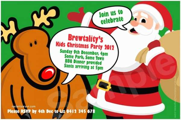 cu900 kids christmas party invitation with santa