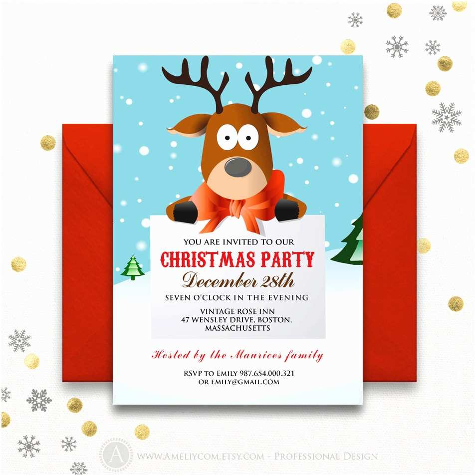 Kids Christmas Party Invitations Funny Christmas Party Invitations Printable Reindeer Kids