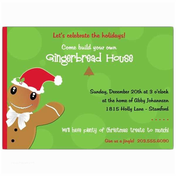 Kids Christmas Party Invitations Gingerbread Man Kids Christmas Party Invitations