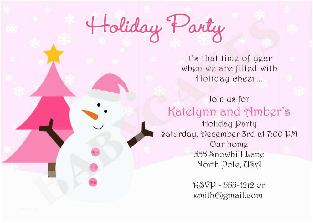 Kids Christmas Party Invitations Holiday Party Invitation Wording