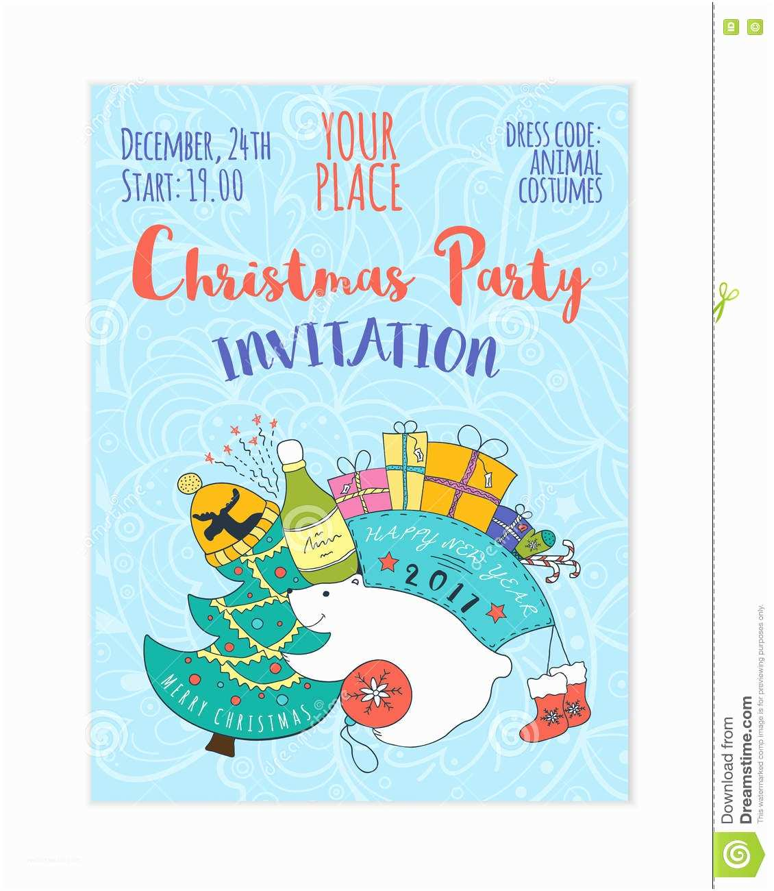 Kids Christmas Party Invitations Kids 2017 Christmas Party Invitation Stock Vector Image