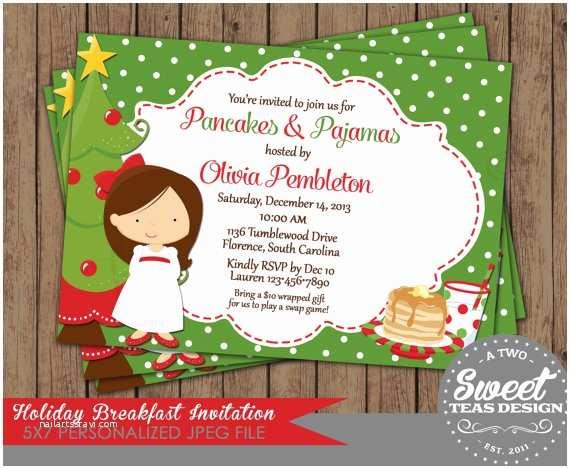 Kids Christmas Party Invitations Kids Christmas Invitation Pancakes Pajamas Holiday by