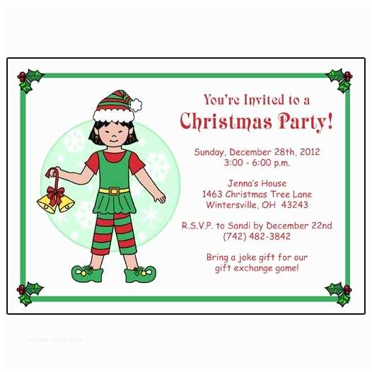 Kids Christmas Party Invitations Kids Christmas Party Invitation Girl Elf – Mandys Moon