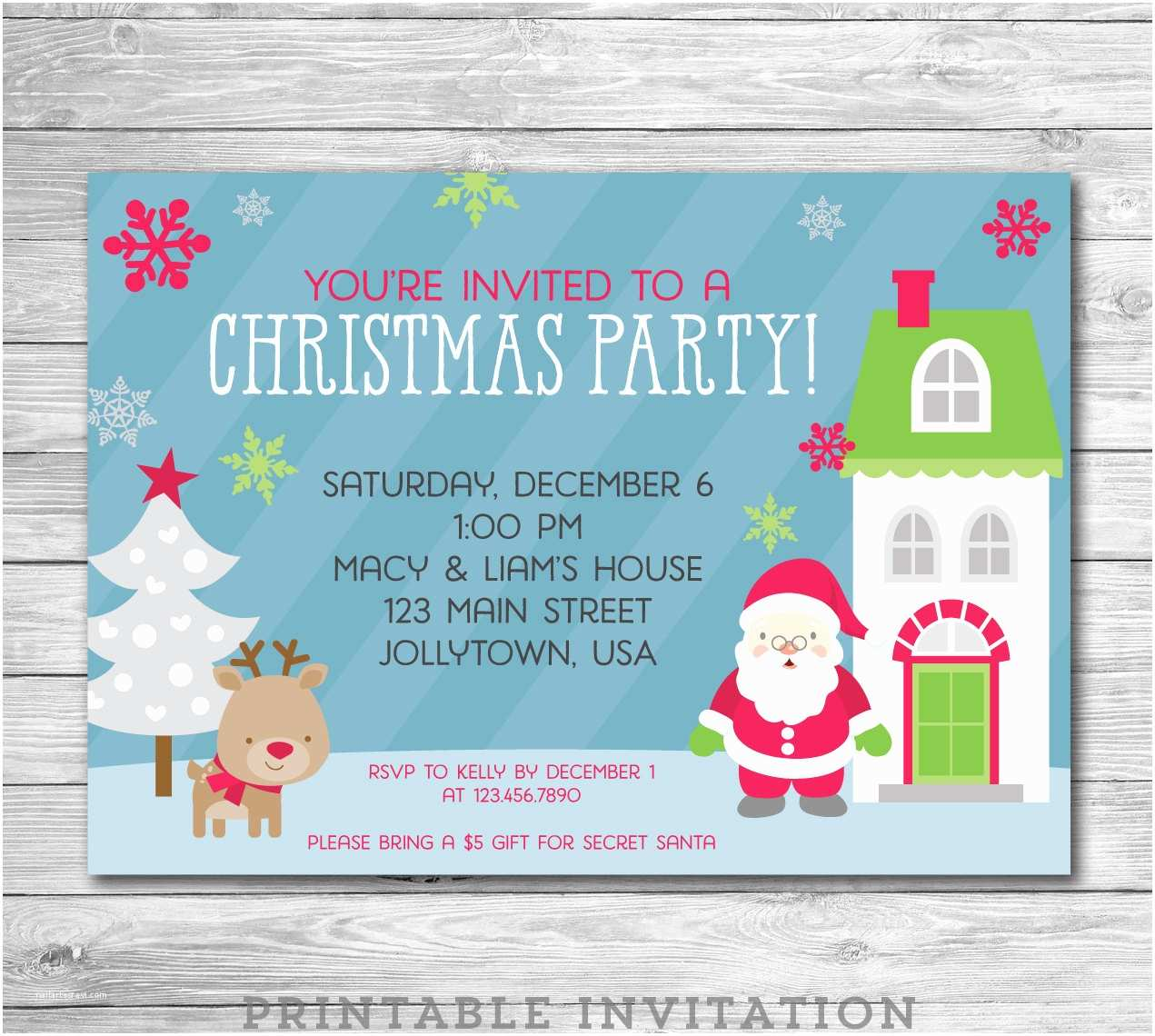 Kids Christmas Party Invitations Kids Christmas Party Invitation Printable by Emandbeapaperie