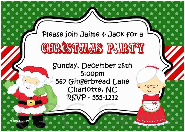 Kids Christmas Party Invitations Santa and Mrs Claus Kids Christmas Holiday Party