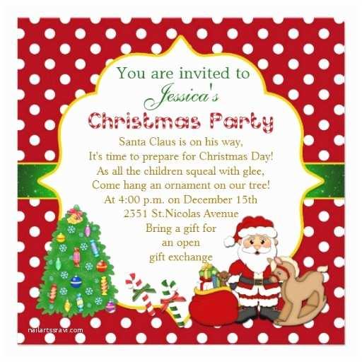 Kids Christmas Party Invitations Santa Tree Rocking Horse Kids Christmas Party 5 25