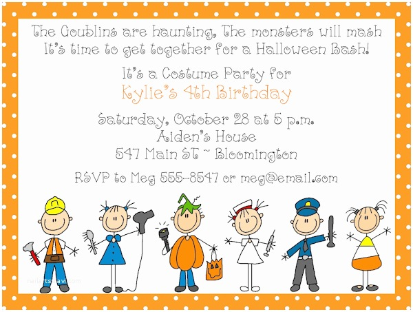 Kids Halloween Party Invitations Adorable Costume