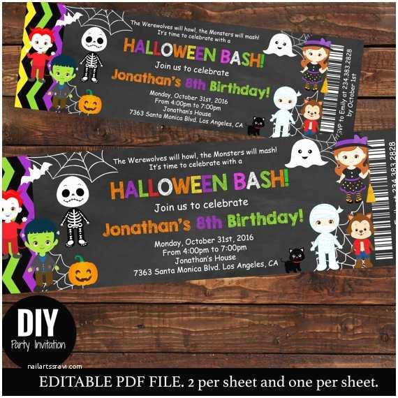 Kids Halloween Party  Halloween Ticket Birthday