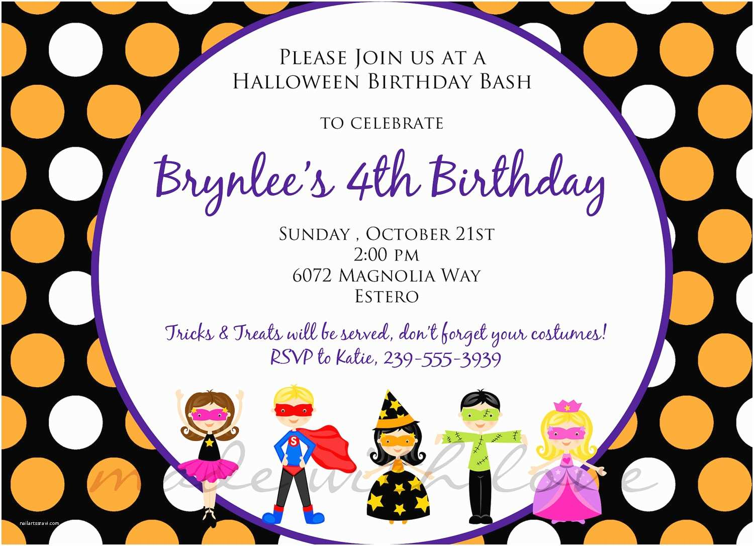 Kids Halloween Party Invitations Printable Halloween Birthday Party ...