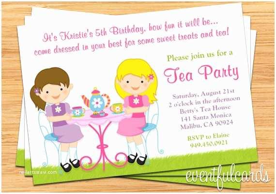 Kids Party Invitations Tea Birthday Party Invitation for Kids