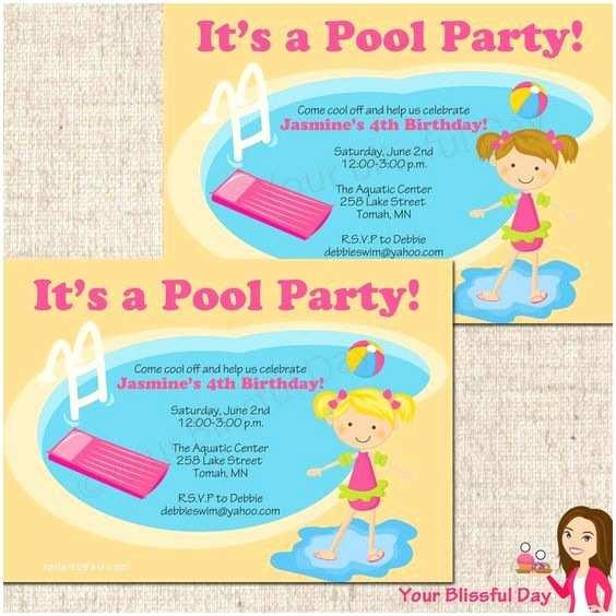 Kids Pool Party Invitation Free Printable Birthday Pool Party Invitations for Kids
