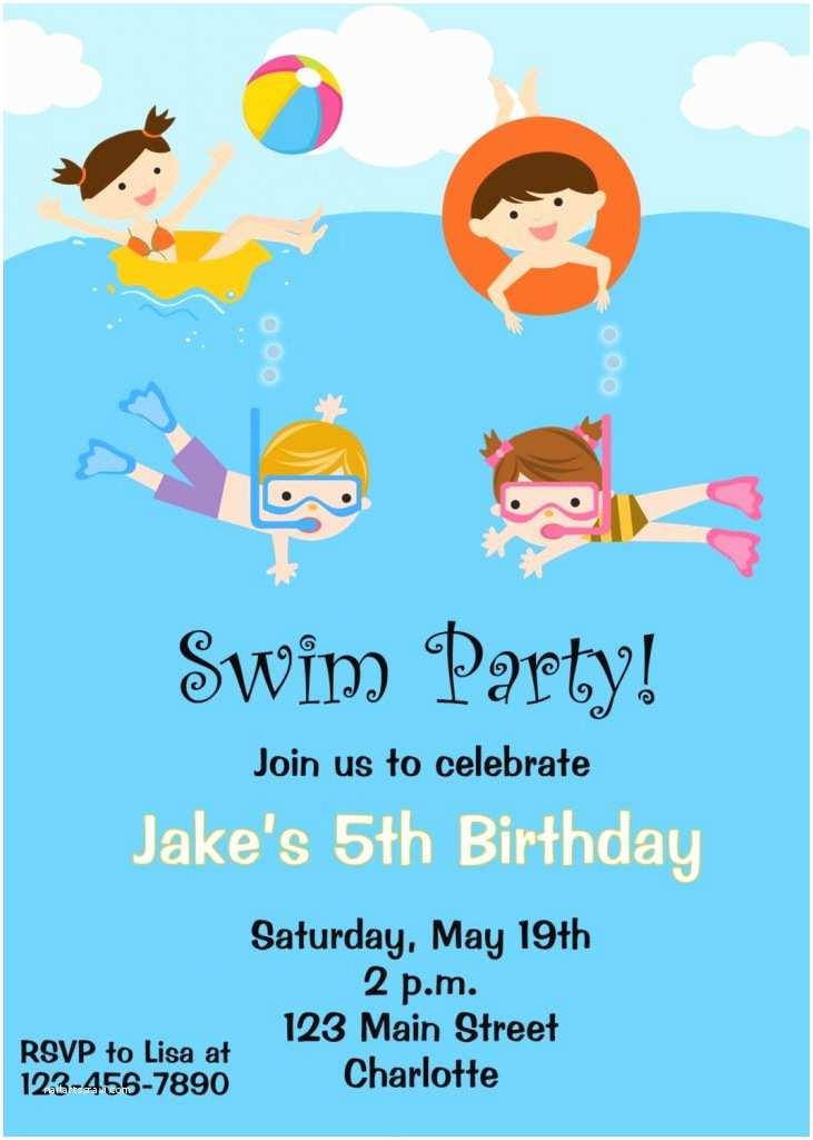 Kids Pool Party Invitation Free Printable Birthday Pool Party Invitations