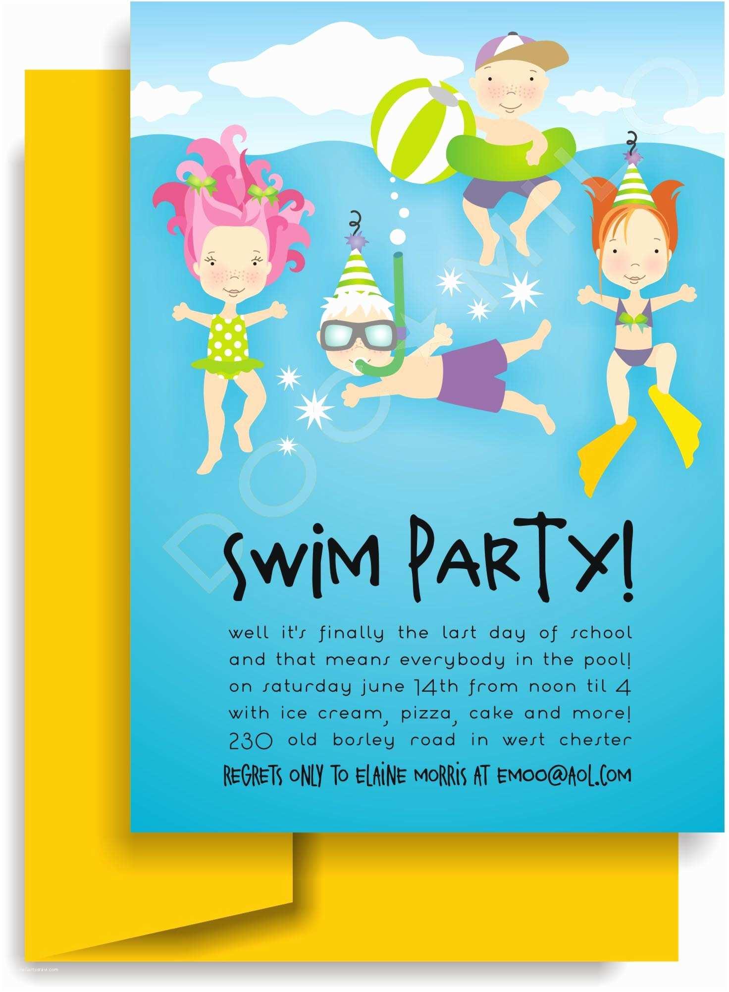 Kids Pool Party Invitation Pool Birthday Party Invitation