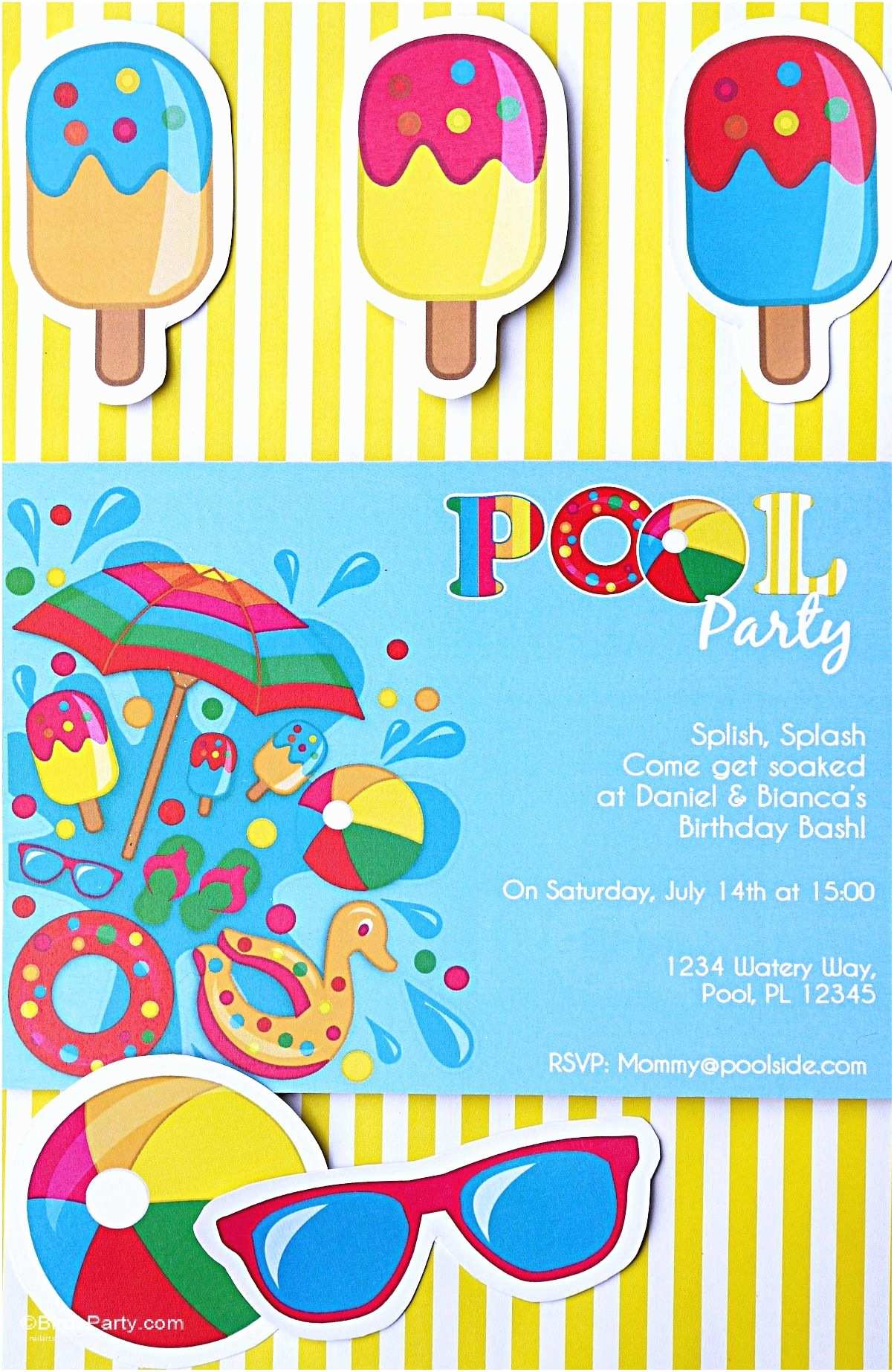 Kids Pool Party Invitation Pool Party Ideas & Kids Summer Printables