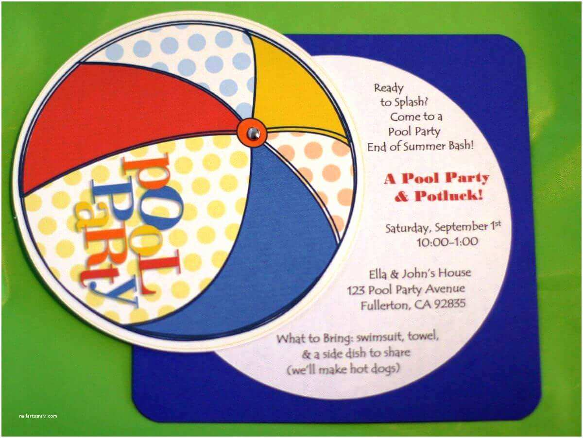 Kids Pool Party Invitation Pool Party Invitation Ideas