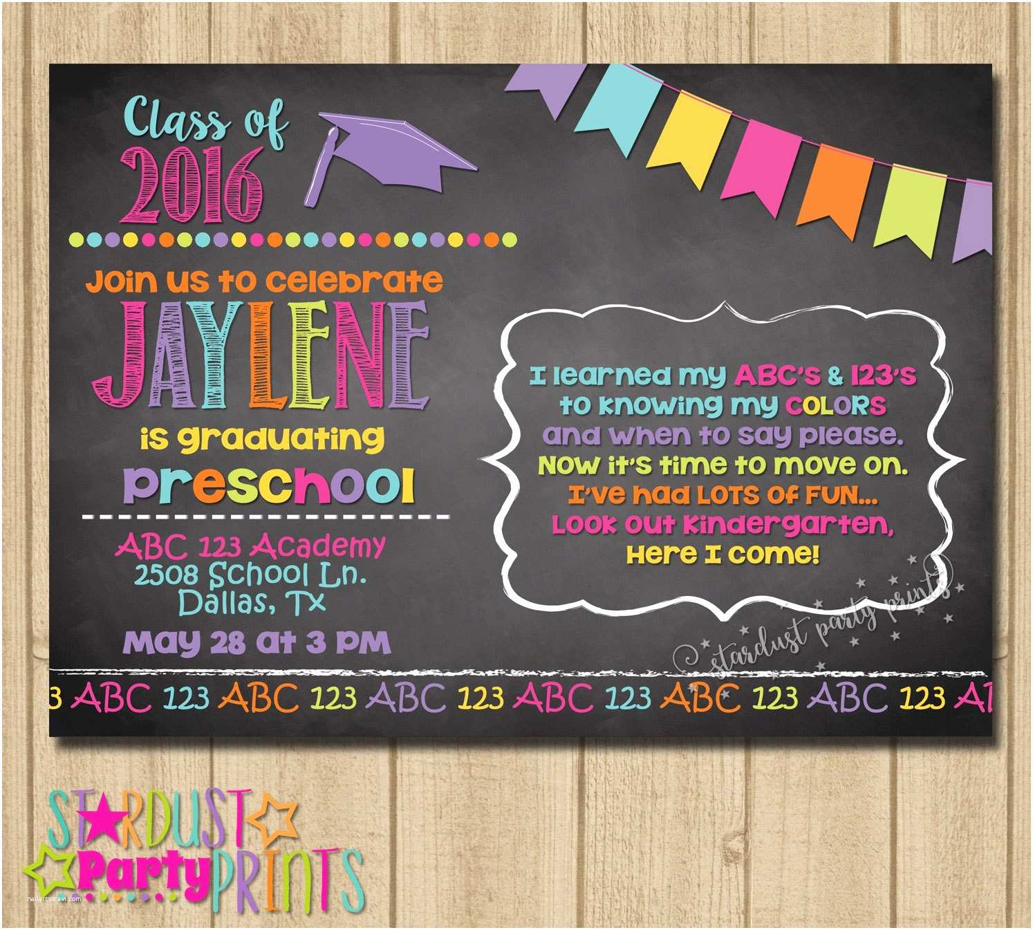Kindergarten Graduation Invitations Kinder Graduation Invitation Preschool Graduation Invitation