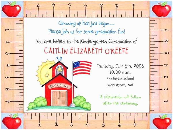 Kindergarten Graduation Invitations Kindergarten Preschool Graduation Invitations