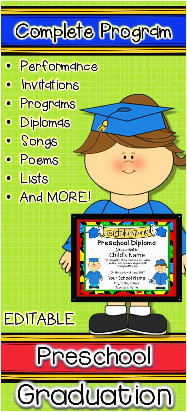 Kindergarten Graduation Invitations Preschool Graduation Diplomas Invitations and Program