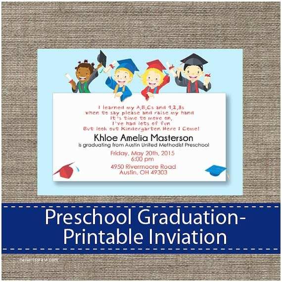 Kindergarten Graduation Invitations Preschool Graduation Invitation Diy Printable