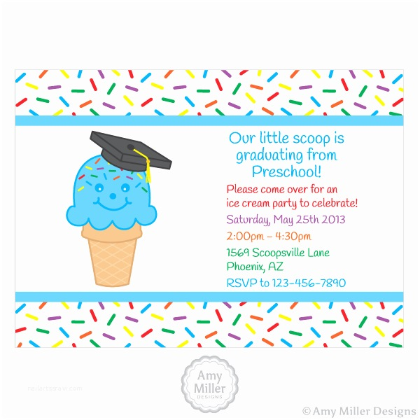 Kindergarten Graduation Invitations Preschool or Kindergarten Graduation Diy Printable Custom