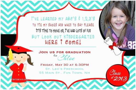 Kindergarten Graduation Invitations Preschool or Kindergarten Graduation Invitation or