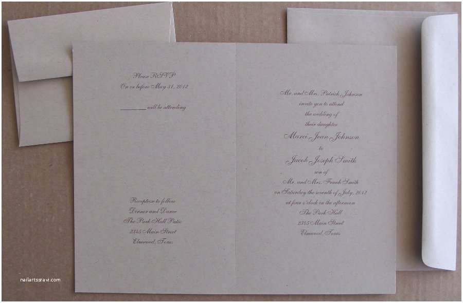 Kraft Paper Wedding Invitation Kit 3 for 1 All In E Invitations In Kraft Brown Bag Color