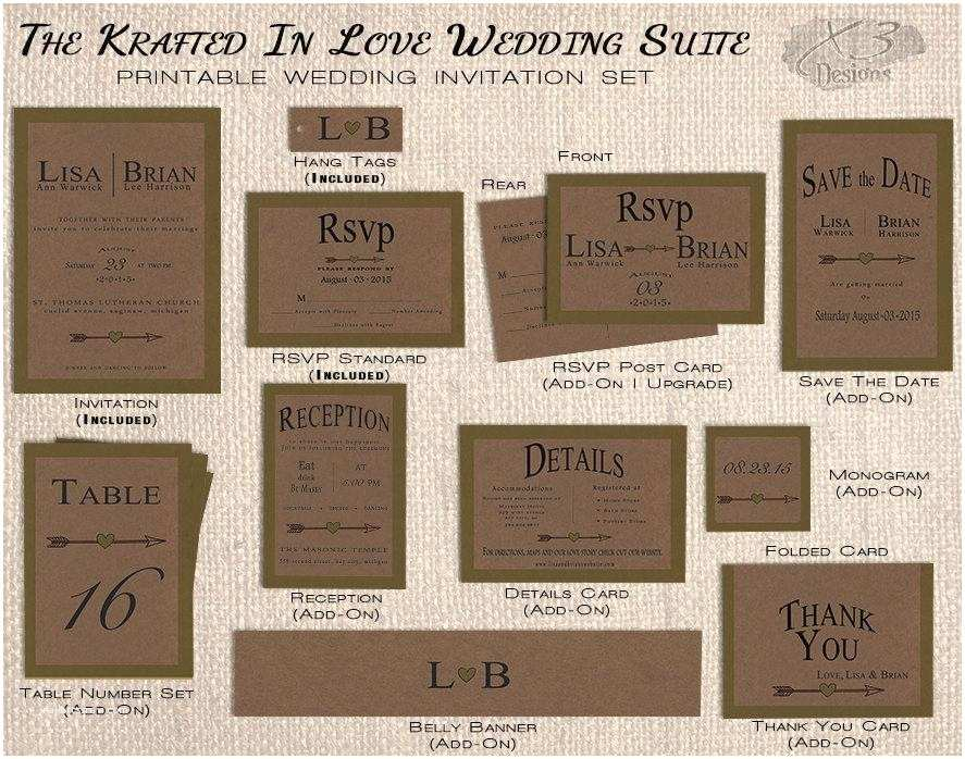 Kraft Paper Wedding Invitation Kit attractive Rustic Wedding Invitation Kits Festooning