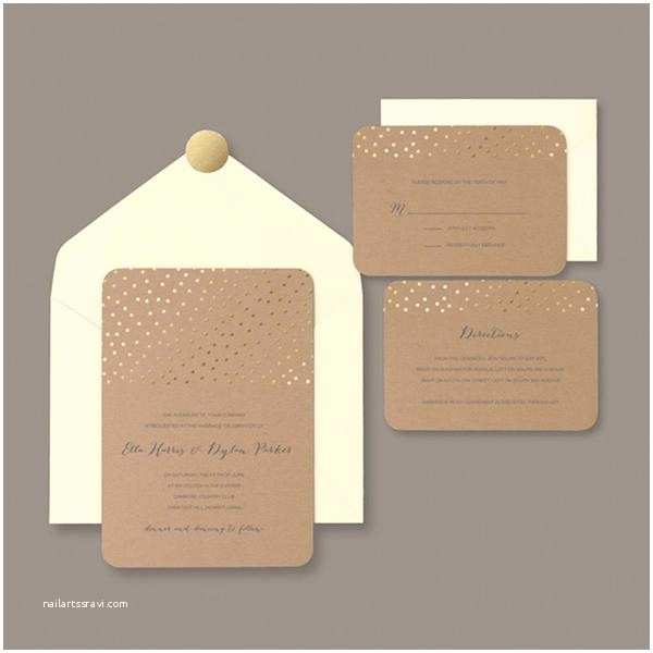 Kraft Paper Wedding Invitation Kit Brides Gold Foil Dot Kraft Invitation Kit Pack Of 30