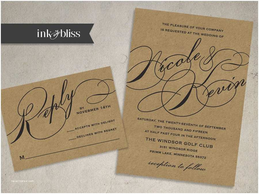 Kraft Paper Wedding Invitation Kit Kraft Wedding Invitation and Reply Card