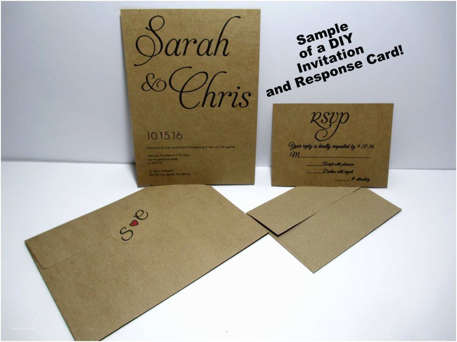Kraft Paper Wedding Invitation Kit Kraft Wedding Invitations Kraft Card Stock Kraft Diy