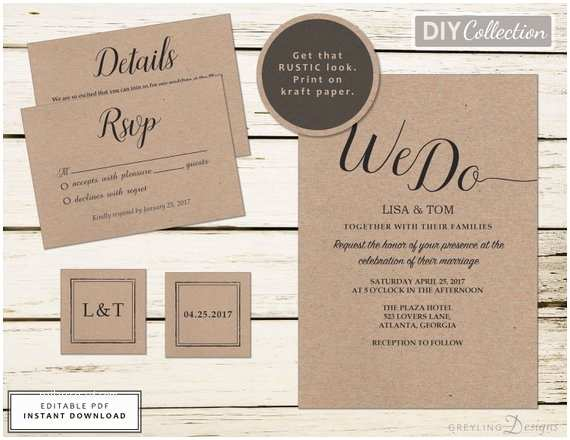 Kraft Paper Wedding Invitation Kit Printable Kraft Wedding Invitation Kit Rustic Wedding