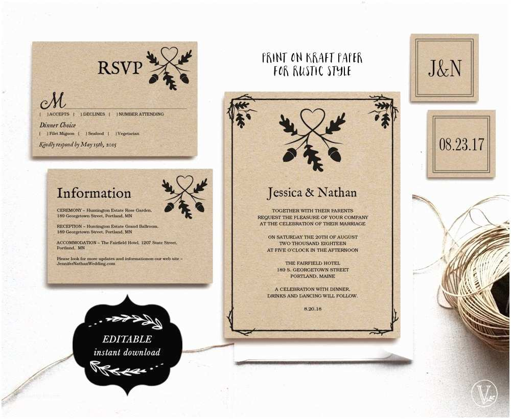 Kraft Paper Wedding Invitation Kit Printable Wedding Invitation Set Kraft Paper Wedding