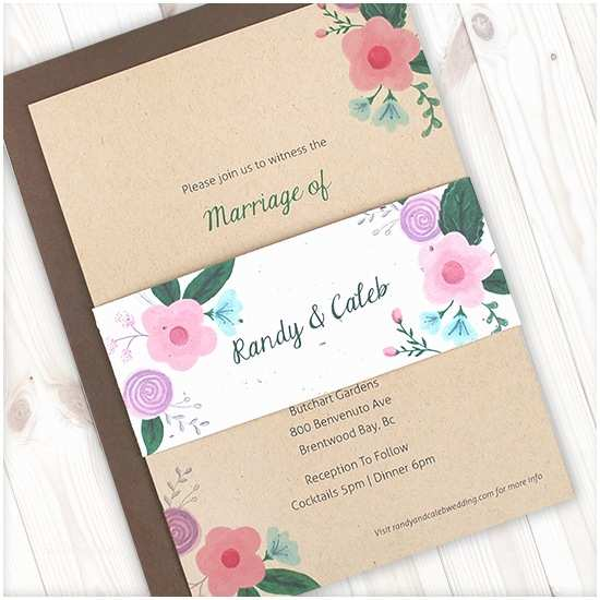 Kraft Paper Wedding Invitation Kit Rustic Floral Kraft Paper Wedding Invitations with Seed