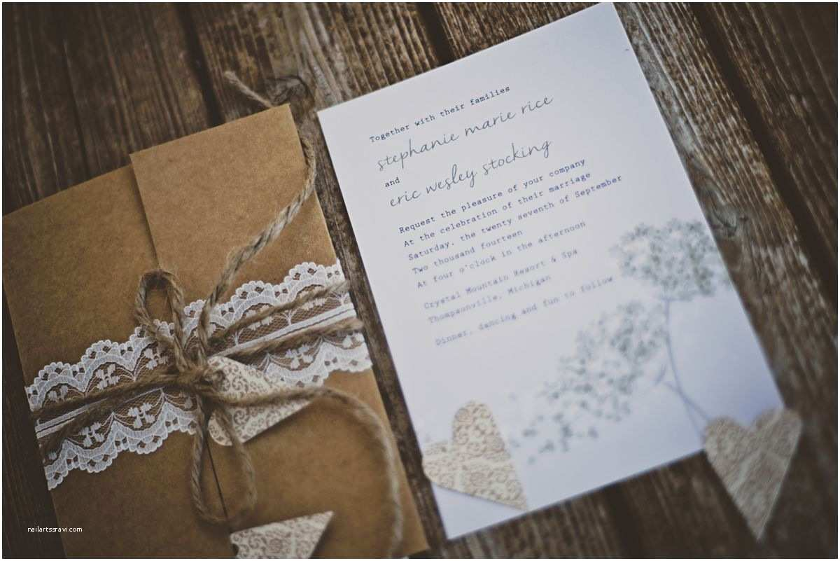 Kraft Paper Wedding Invitation Kit Rustic Kraft Paper and Twine Wedding Invitations